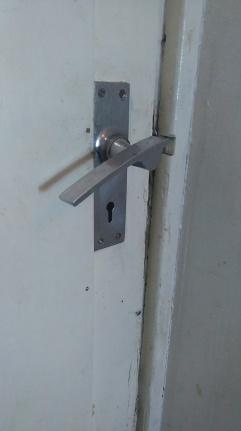 Marine Court door handle detail chrome
